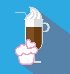 A glass of coffee with ice cream and straw vector