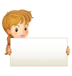 A teenage girl holding an empty signage vector image