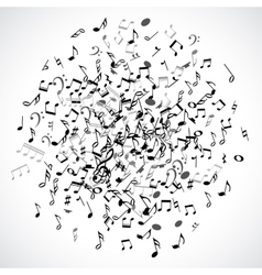 Abstract musical dot with black notes on white vector
