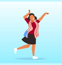 African american woman with usa flag 4th july vector