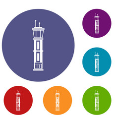 airport control tower icons set vector image