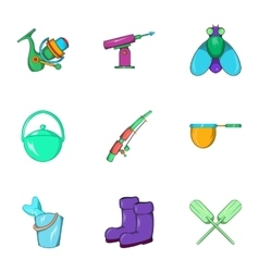 Angling icons set cartoon style vector image