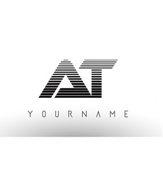 at black and white horizontal stripes letter logo vector image
