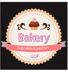 Bakery cupcakes pastries 1987 ribbon back backgr vector