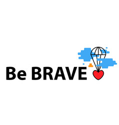 banner with heart flies parachute from blue vector image