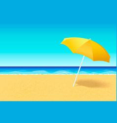 Beach umbrella on a deserted beach near ocean vector
