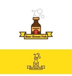 beer bottle with a door logotype Cartoon vector image