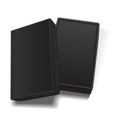 black open empty rectangular cardboard box vector image