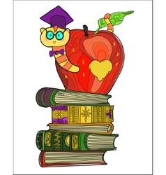 Bookworm doodle vector image