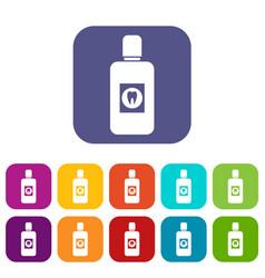 Bottle of mouthwash icons set vector
