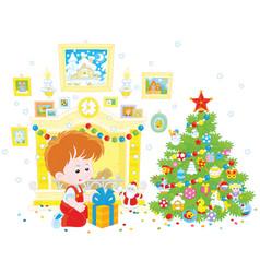 boy with his christmas gift vector image