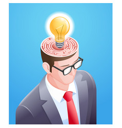 brain maze with light bulb in businessman head vector image