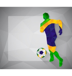 Brazilian football player with ball in triangles3 vector