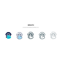Breath icon in different style two colored and vector
