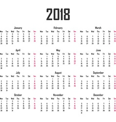 Calendar for 2018 Week starts on Monday vector image