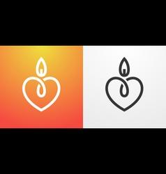 Candle light romantic logo vector image