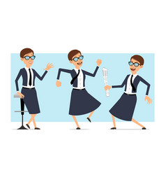 Cartoon business coach woman character set vector