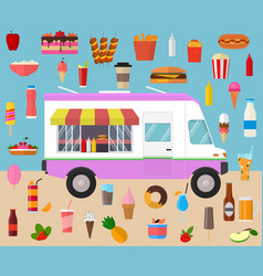 cartoon color wagon track summer food and elements vector image