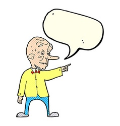 Cartoon old man pointing with speech bubble vector