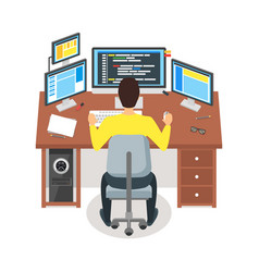 cartoon programmer writes code workspace concept vector image