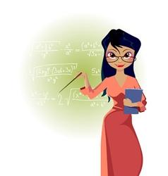 cartoon woman teacher on blackboard background vector image