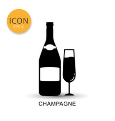 champagne bottle and glass icon flat style vector image