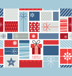 christmas gift boxes pattern with ribbons in hand vector image