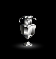 Chromed low poly winner cup vector