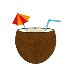 Coconut cocktail drink design vector
