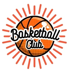 Color vintage basketball emblem vector