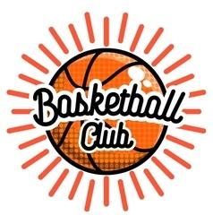 Color vintage basketball emblem vector