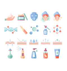 Colorful skin care and beauty cosmetics icons set vector