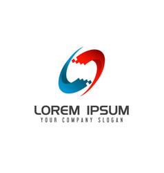 computer technology logo design concept template vector image