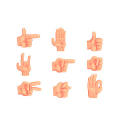 Conceptual popular hand gestures set of realistic vector