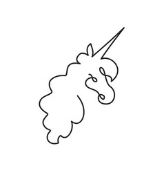 continuous line art of unicorn head vector image