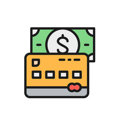 credit bank card with money flat color line icon vector image