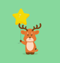 Cute deer holding balloon free vector