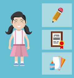 cute school girl with utensils vector image
