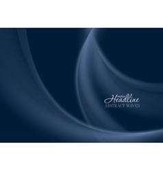 Dark blue smooth soft wavy background vector image vector image