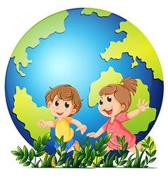Earth theme with boy and girl running vector image
