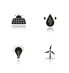 eco energy drop shadow black icons set vector image
