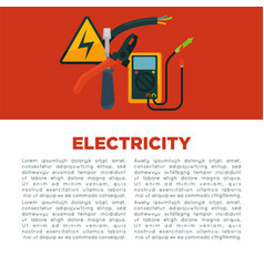 Electricity informative poster with equipment and vector