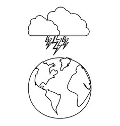 Figure earth planet with cloud ray icon vector