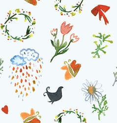 Floral watercolor seamless pattern for spring vector