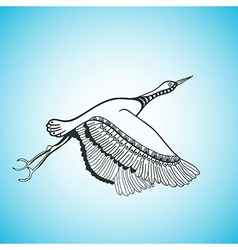 Flying bird creative hand drawn card vector