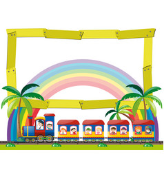 frame template with kids on the train vector image