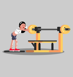 Girl put pancake on barbell in gym vector