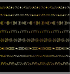 Gold paisley borders vector