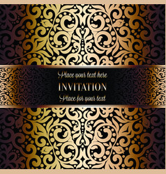 gold wedding invitation card template design with vector image