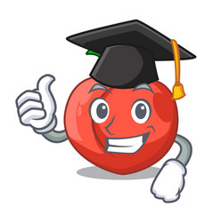 Graduation nectarines cartoon with green leaves vector